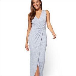 NWT NY&CO Light Gray Faux Wrap Maxi Dress Small